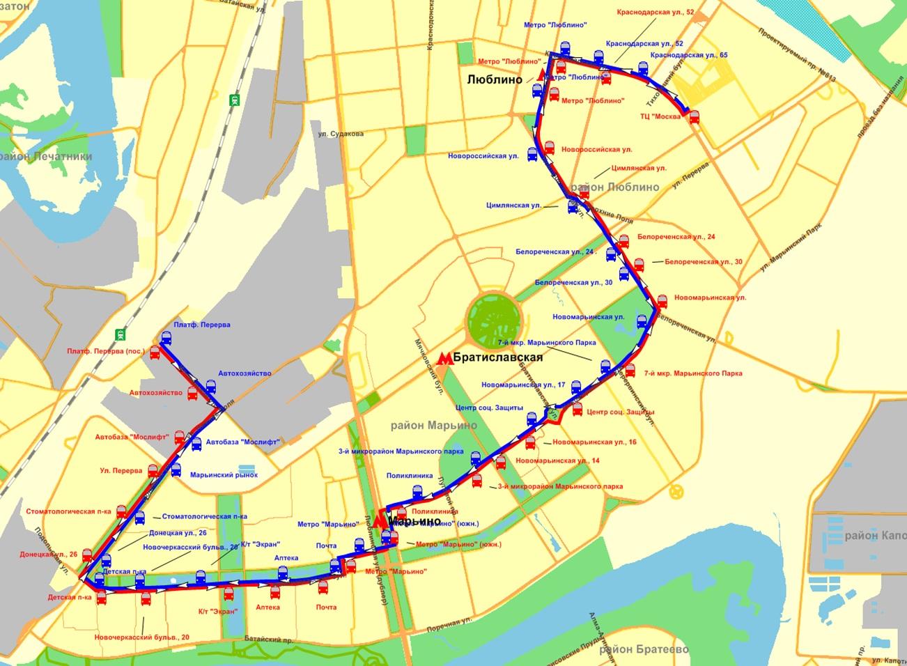 Схема движения 619 автобуса