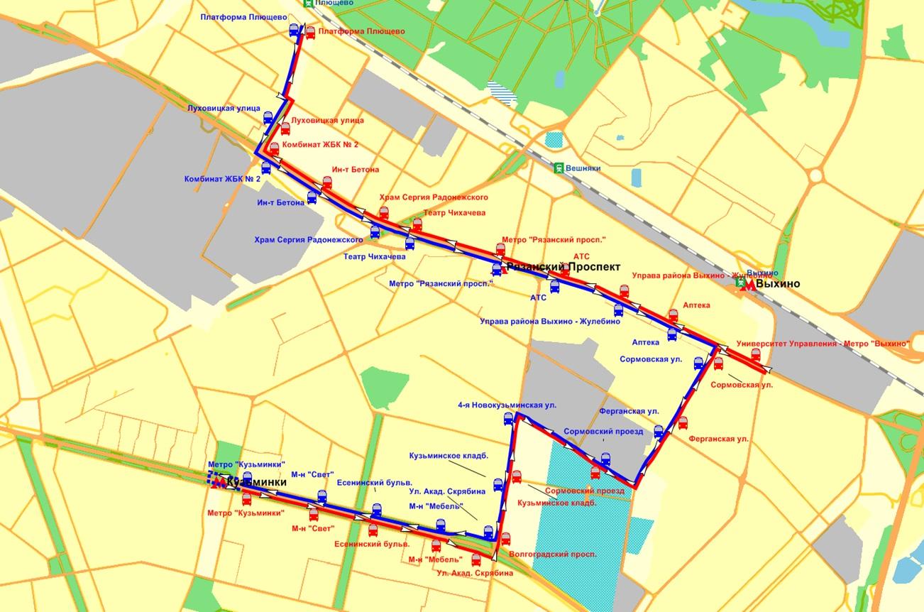 схема маршрута автобуса 310