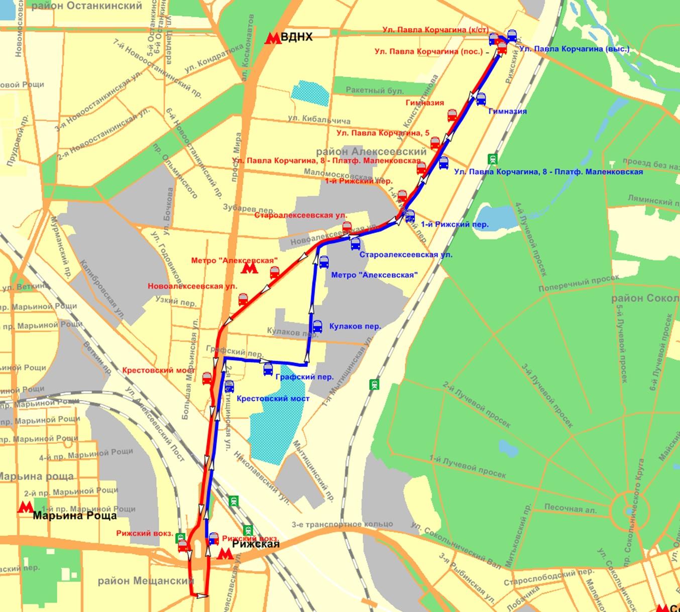 схема движения 77 маршрута