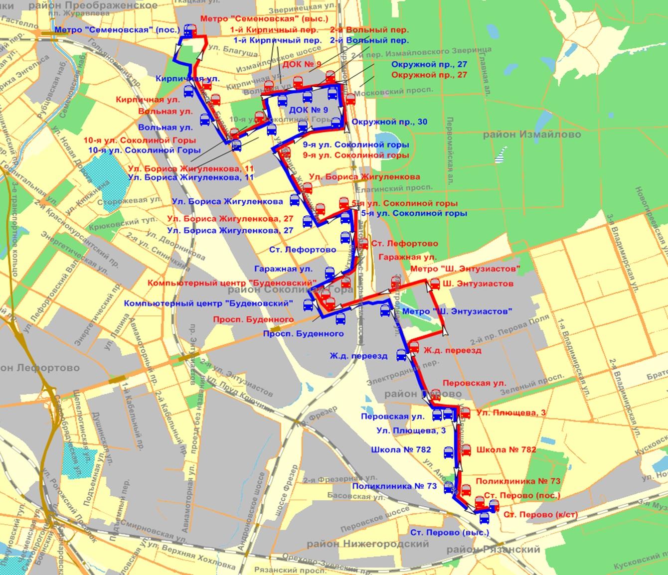 схема маршрута автобуса 671